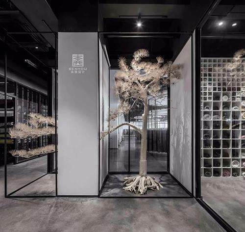 纺织品展厅现代极简中尽显东方影视之美有禅意的窗户墙怎样装修设计图片