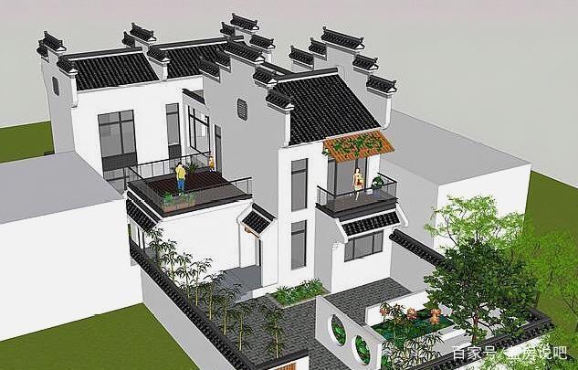 别墅新中式别墅,庭院盎然的绿意绝美,一家人住有没有徽派出售南阳市图片