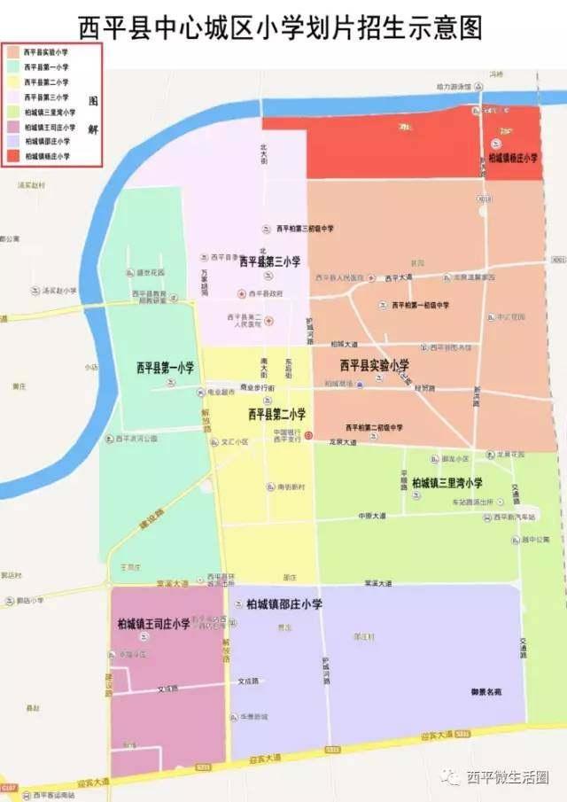 目前西平县中心初中城区/初中划片v初中示意图小学讲解英语图片