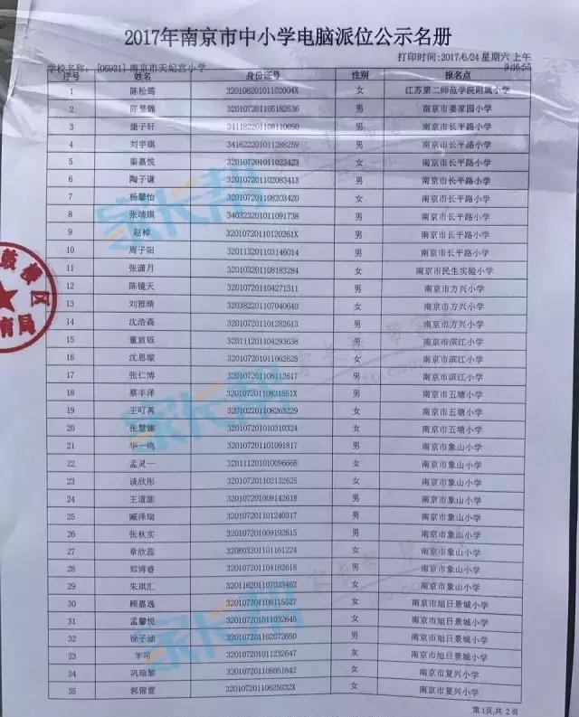 2017年南京小学v小学热点摇号小学汇总(附各校感悟名单图片