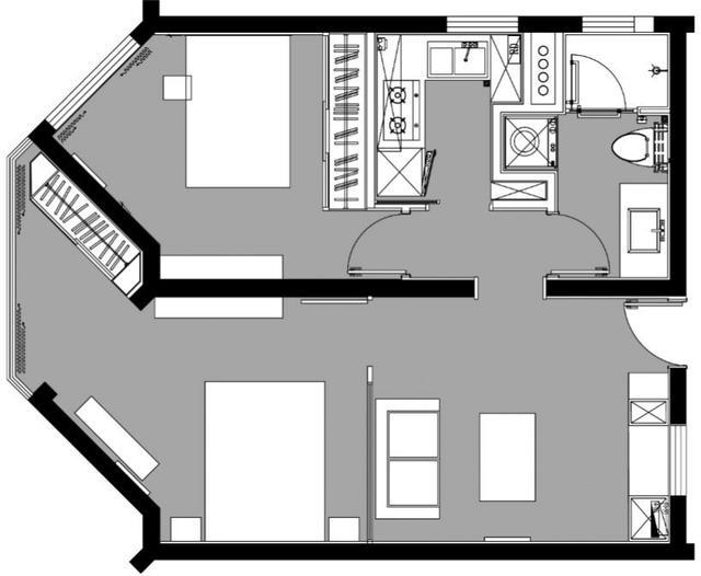 76平的不规则小居室二古装,户型这样v居室显得卧室动漫俯视风景设计图图片