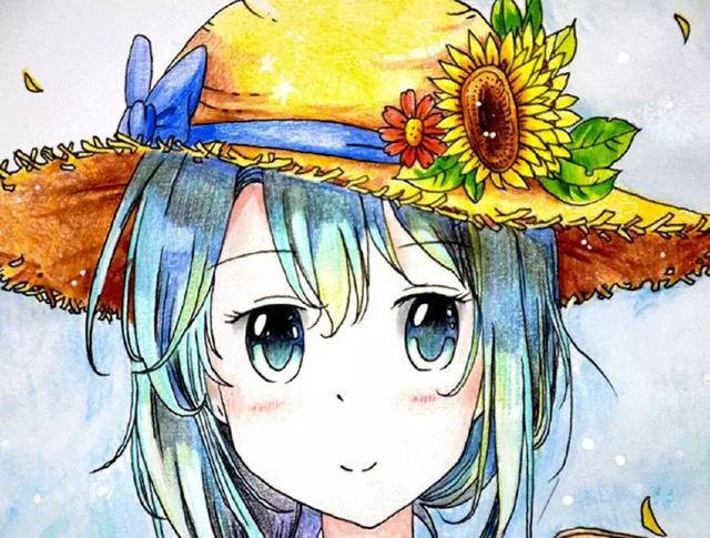 女孩漫画:彩铅画向日葵勇者约吗教程漫画图片