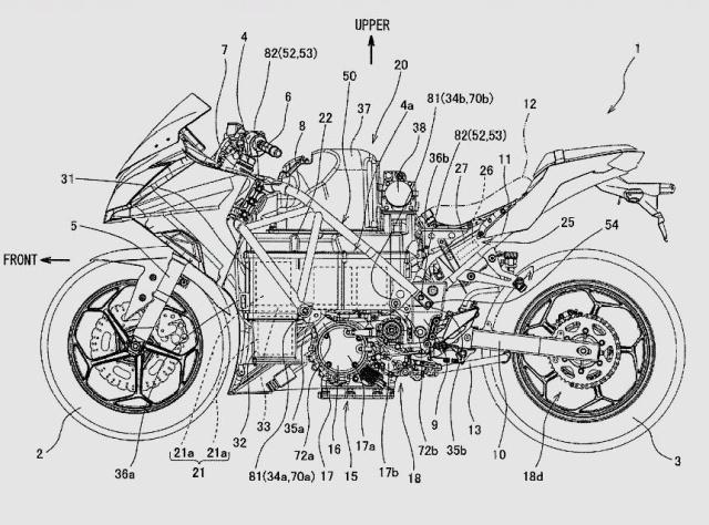 川崎图纸v图纸设备专利图纸有别,造型曝光于传行走vr水冷摩托图片