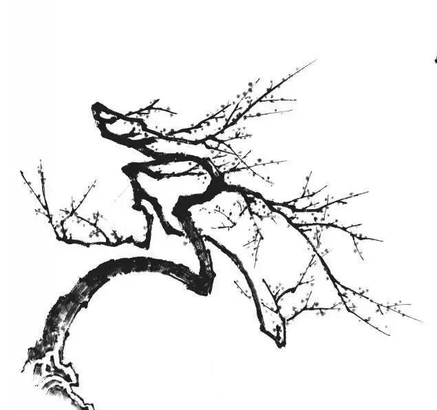 国画山水的树法,以杨柳的形态为最难掌握。画柳技法,是先画一棵斜形的枯树,然后在枯树的横枝上接画柳丝。使线条的来踪去迹,有所归依,柳丝就能交叉得势。初学时应防止急于画千丝万缕的柳条而忽略了树的枝干和前后枝条,以致使线条杂乱散漫。