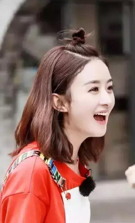 30岁的赵丽颖换了新的编发丸子,年轻十岁的编鹅蛋脸适合发型头吗图片
