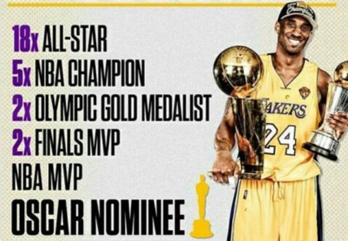 老大再創神奇!大神科比有望贏得NBA史上第一座奧斯卡獎盃