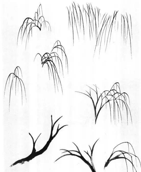 梅树  梅树用笔要刚健坚挺,它的枝干曲折横斜,回转有力.