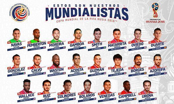 哥斯达黎加公布世界杯大名单:门神纳瓦斯领衔