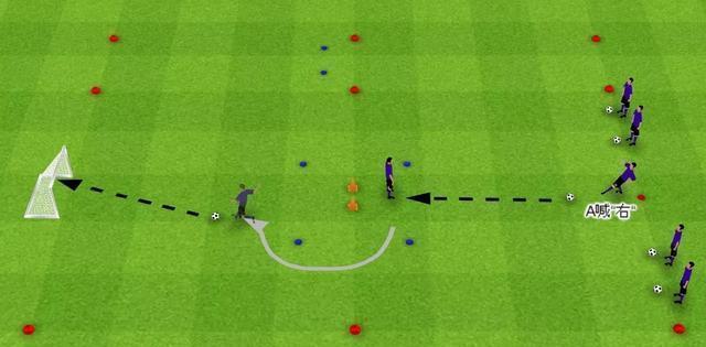 「教练角」足球技术:接球转身射门练习