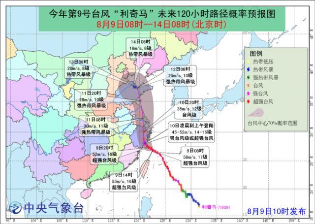 """今年首个台风红色预警来了!风王""""利奇马""""明日登陆浙江"""
